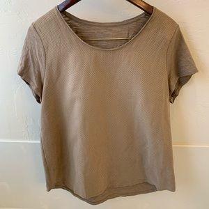 Chico's tan khaki suede T-shirt. Size 2(L)